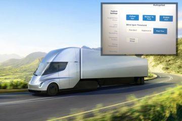 Camion Tesla e screenshot autopilota con la nuova opzione Mad Max