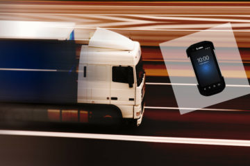 camion in corsa con palmare Zebra Technologies