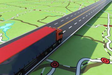 immagine rendering con camion su strada e mappa gps
