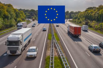 autostrada camion e auto simbolo unione europea